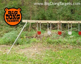 """BIG DONG TARGETS 6"""" x 3/8"""" Shooting Target Kit - AR500 Steel Gongs (5), Stand Brackets (pair), & Chain Hook Sets (5) Included, Gift for Him"""