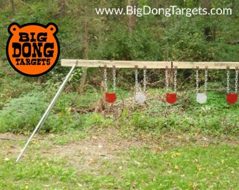 """BIG DONG TARGETS 8"""" x 3/8"""" Shooting Target Kit - AR500 Steel Gongs (5), Stand Brackets (pair), and Chain Hook Sets (5) Included"""