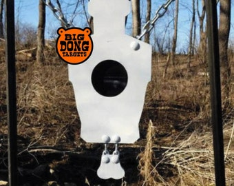 "BIG DONG TARGETS 1/2"" Hanging Banging Bullseye Silhouette Target with Nuts, AR500 Steel Shooting Target, Gift for Him, Reactive Target"