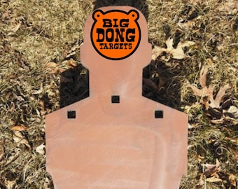 """BIG DONG TARGETS 22"""" x 11.5"""" x 3/8"""" Standard Silhouette, AR500 Steel Target, Hang by Chain or Hook, Gift for Him, Shooting Range"""