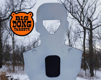 """BIG DONG TARGETS 3/8"""" Reactive Head & Chest Silhouette, AR500 Steel Shooting Target, 2x4 Bracket, Gift for Him, Reactive Silhouette"""