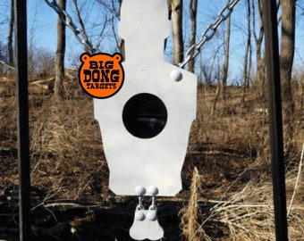 "BIG DONG TARGETS 3/8"" Hanging Banging Bullseye Silhouette with Nuts, AR500 Steel"