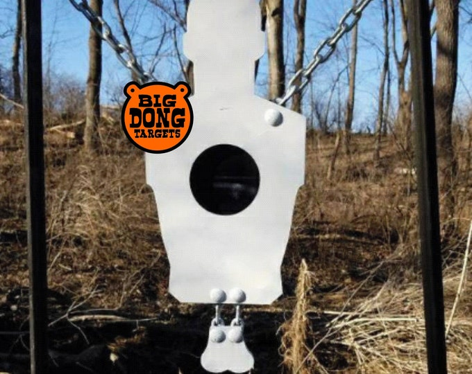 "Featured listing image: BIG DONG TARGETS 3/8"" Hanging Banging Bullseye Silhouette with Nuts, AR500 Steel"