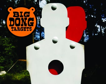 "BIG DONG TARGETS 3/8"" Hostage Scenario & Bullseye Silhouette AR500 Steel Tactical Shooting Target, Hunting, 2x4 Bracket, Gift for Him"