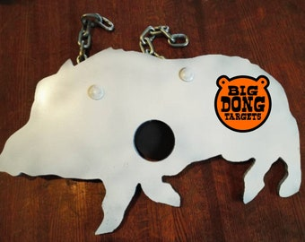 "BIG DONG TARGETS 3/8"" Wild Hog Bullseye Silhouette, AR500 Steel Shooting Target, with Chains, Boar Silhouette, Gift for Him, Reactive Target"