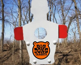 """BIG DONG TARGETS 3/8"""" Shoulder & Chest Reactive Silhouette, AR500 Steel Shooting Target, 2x4 Bracket Included, Gift for Him, Shooting Range"""
