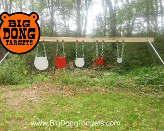 "BIG DONG TARGETS Shooting Target Kit 4"", 6"", 8"", 10"", 12"" x 1/2"" AR500 Steel Gongs, Stand Brackets (pair), Chain Hook Sets (5) Included"