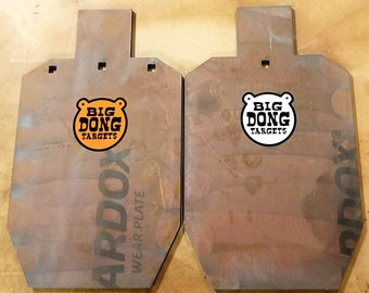 "Big Dong Targets 2- 20"" x 12"" x 3/8"" USPSA / IPSC Silhouette AR500 Steel Target, 2 T-post Hooks Included, Tactical Shooting"
