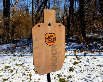 "Big Dong Targets USPSA, IPSC Silhouette 12"" x 20"" x 3/8"" AR500 Steel Shooting Target, T-post Hook Included, Gift for Him, Gift for Her"
