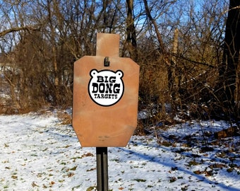 "Big Dong Targets 12"" x 7"" 3/8"" thick USPSA / IPSC Standard Silhouette, AR500 Steel Tactical Shooting Target, with T-post Hook, Gift for Him"