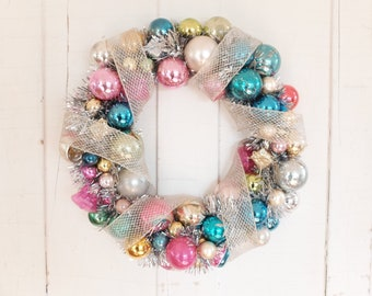 Vintage Ornament Wreath, Mid Century Holiday Deocration, Nostalgic Christmas Decor
