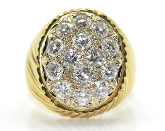 Ring Signet Ring gold and diamonds