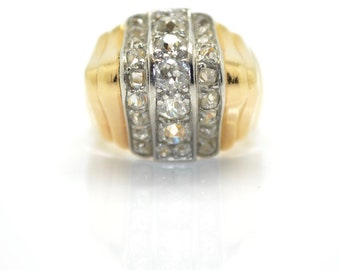 Tank dome gold, Platinum and diamond ring