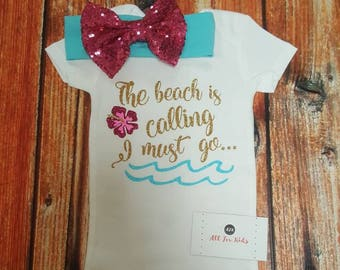Baby Girl Clothes, Disney Moana Bodysuit, The Beach Is Calling Newborn