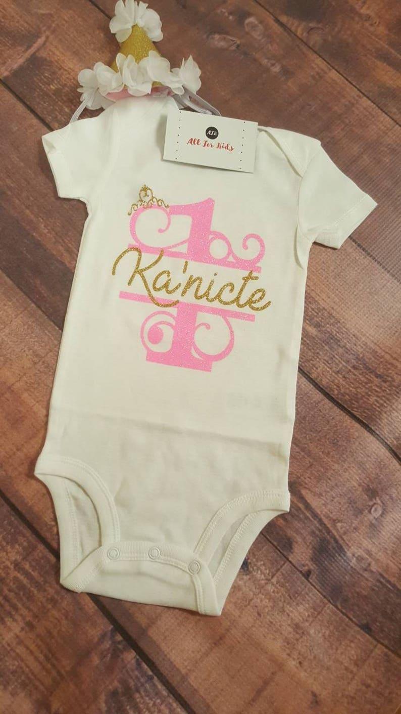 1st Bday Bodysuit Add Name Baby Birthday Shirts