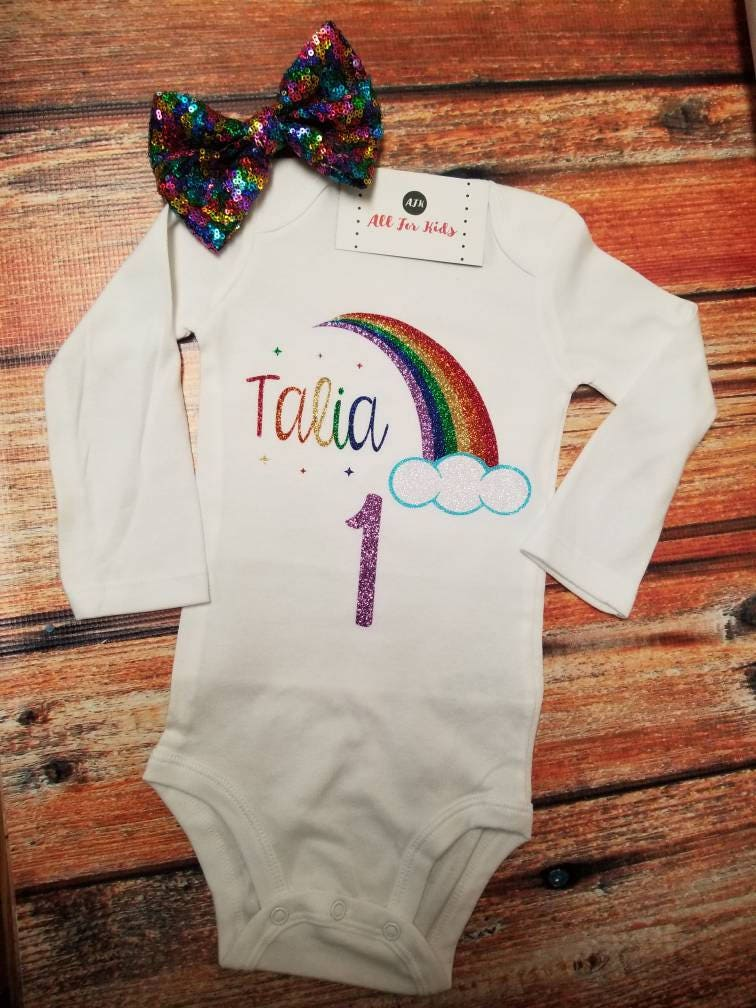 a0f846ab88 baby girl clothes Rainbow Birthday Bodysuit Rainbow Baby