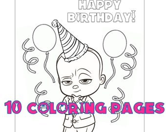Boss Baby Coloring Etsy