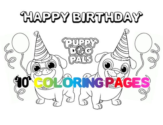 Coloring Pages Puppy Dog Pals Printables Puppy Puppies Party Favor Favors Digital Download Instant Birthday