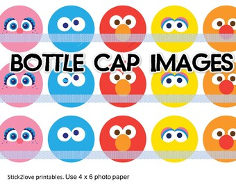 "sesame street elmo printables  4x6 - 1"" circles, bottle cap images, abby big bird cookie monster"