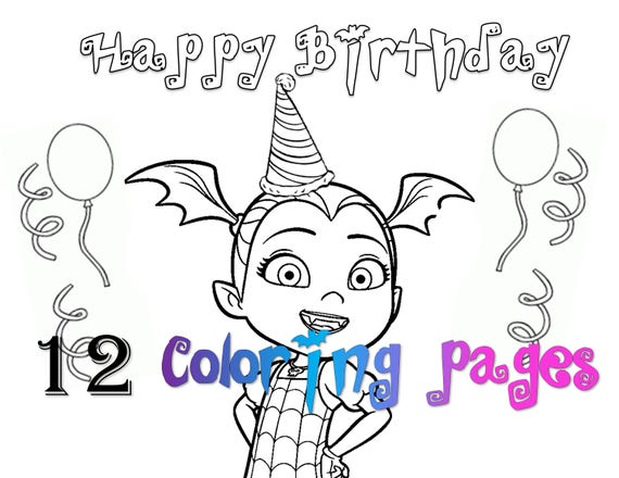 Coloring Pages Vampirina printables party favor favors digital download  instant birthday