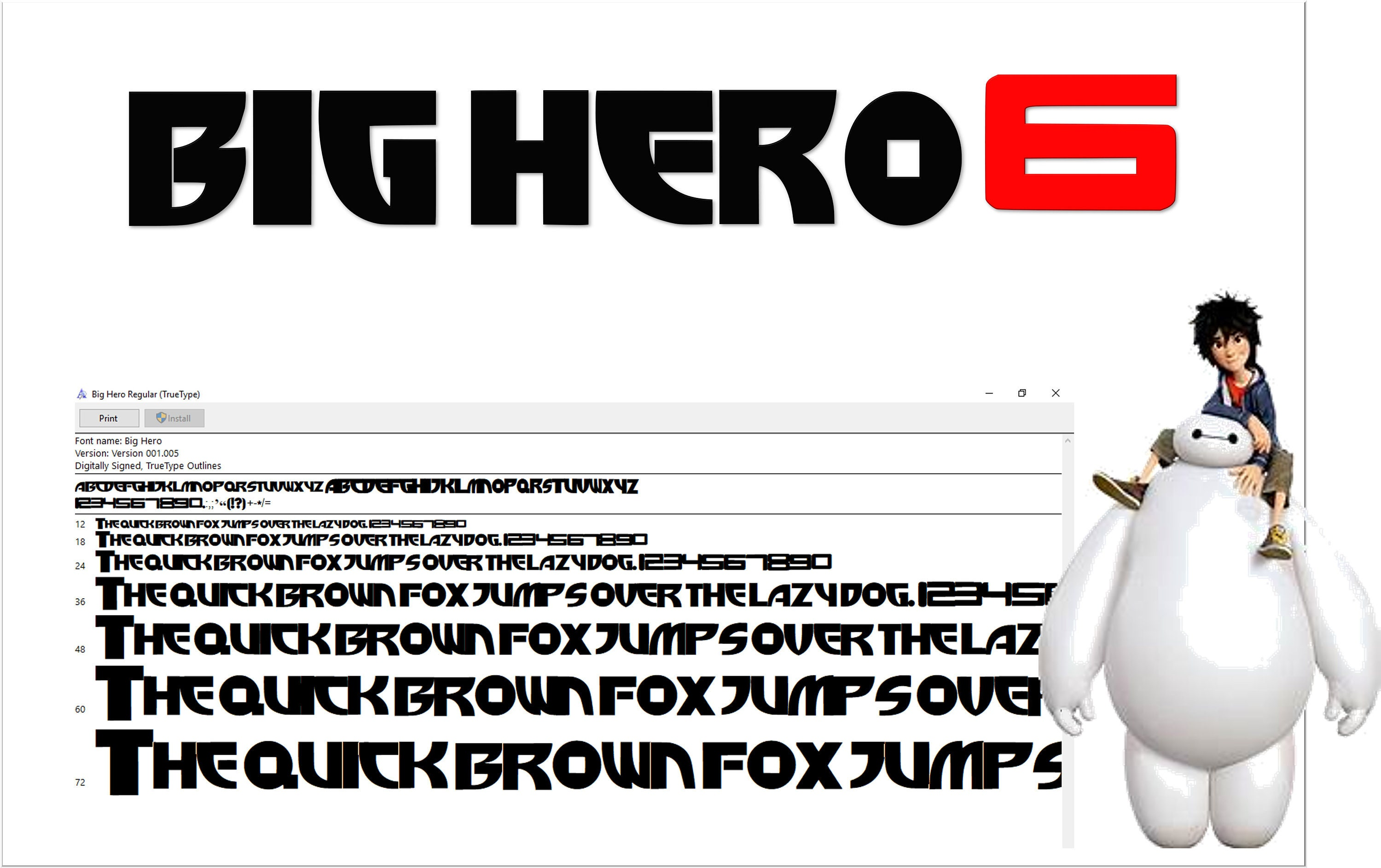 Big Hero inspired font True Type  To install and write with numbers ttf
