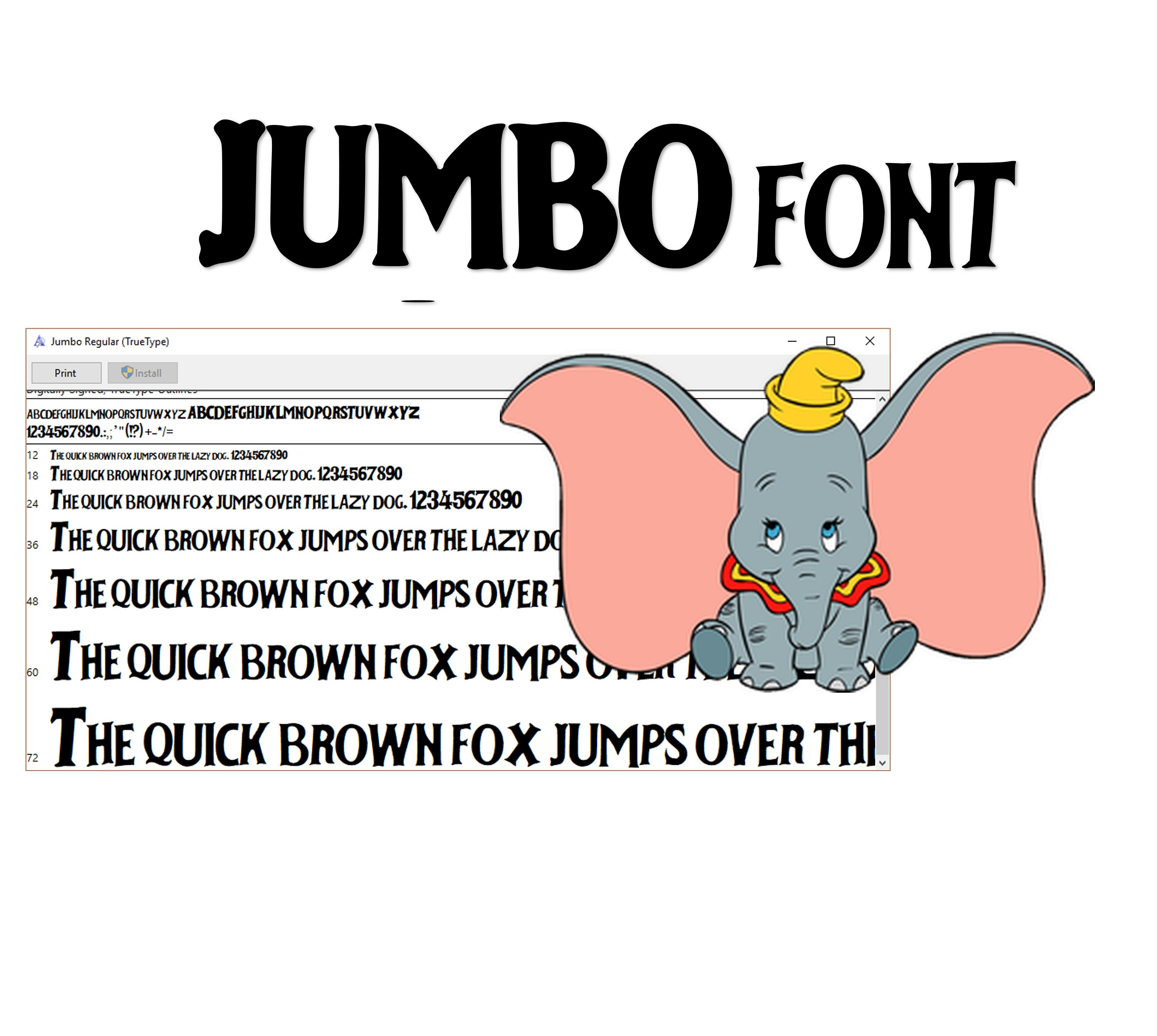 Dumbo inspired font Inspired Font  To install and write AND CUT! Jumbo font