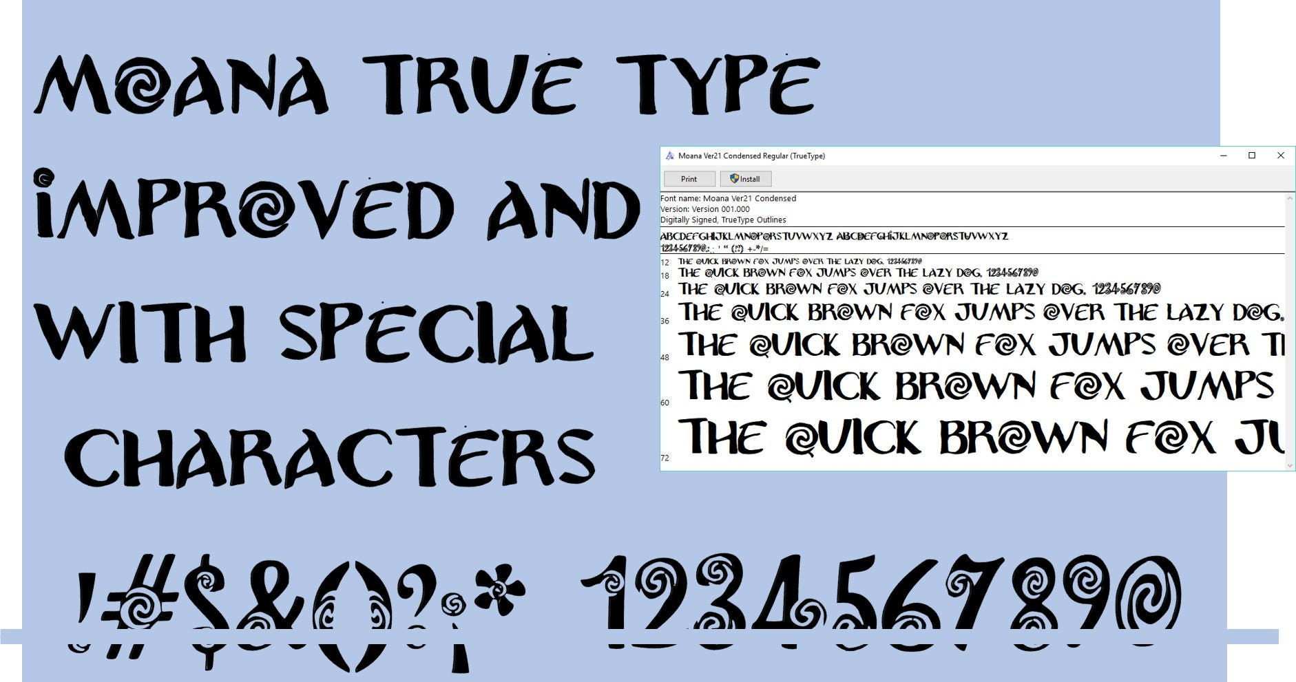 Moana Font improved Version 2 1 True Type  To install and write