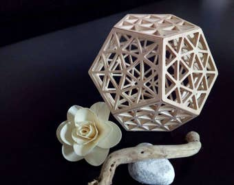 Wooden dodecahedron, CNC cut. Sacred Geometry. Free shipping in Italy x areas not disadvantaged