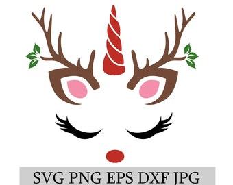 Christmas Unicorn | Christmas Reindeer | SVG EPS JPG png dwg Digital Download