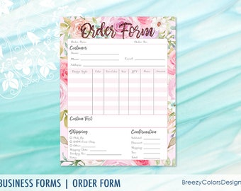 custom order form template small business printable floral ordering sheet flower craft show for clients letter size instant download