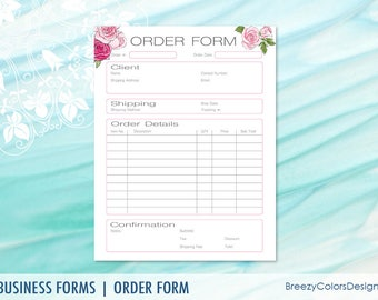 Craft Show Order Form Printable Small Business Templates Etsy