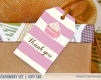 mini thank you labels floral hang tags template gift note etsy