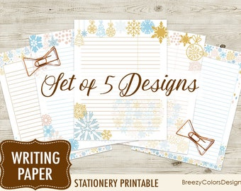 watercolor lines writing paper set of 5 journal notes etsy