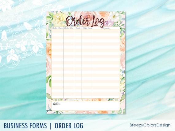 Floral Order Tracker Printable Sales Log Form Journal Pages Template Handmade Business 85x11 Letter Size Digital Download Pdf Jpg