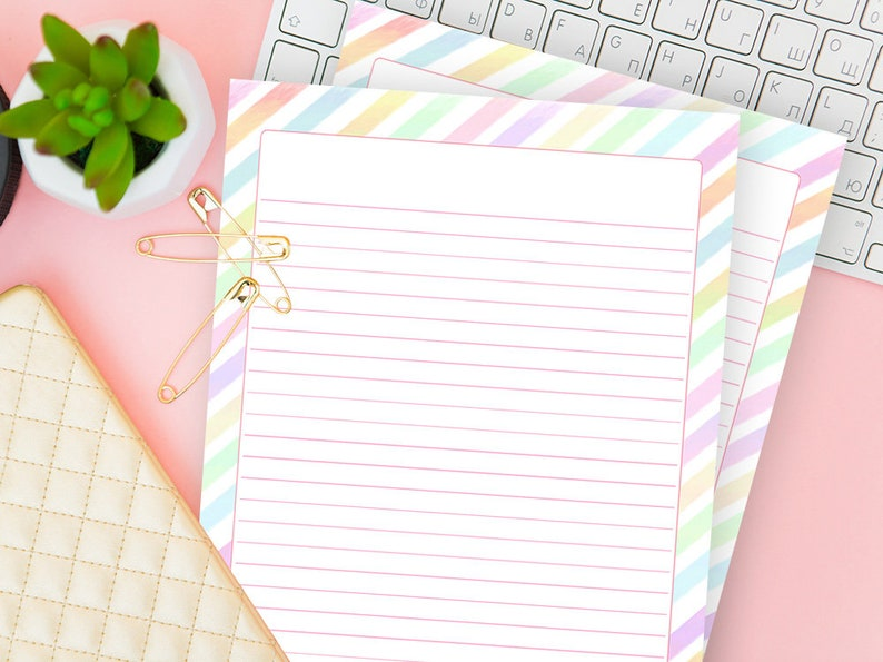 photograph about Downloadable Stationery called Downloadable Stationery Line Rainbow, Coloured Included Paper, Electronic Crafting Laptop Incorporate, Dominated Sheet Printable, Refill Down load, PDF