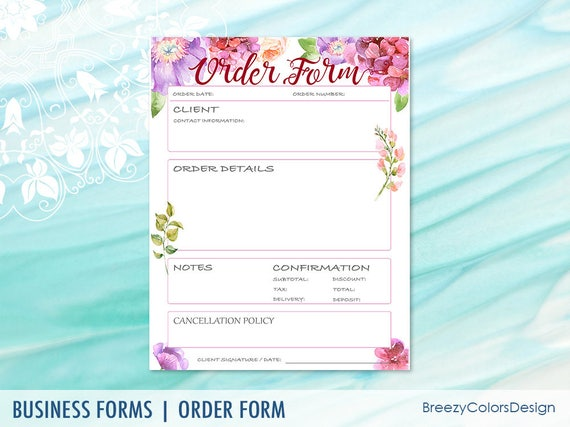 Small business order form templates simple sales book for etsy image 0 fbccfo