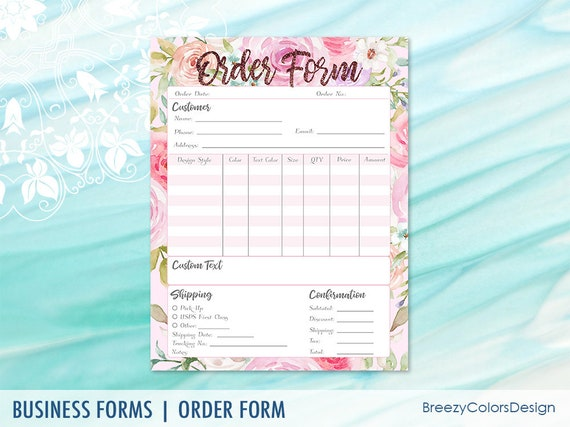 graphic regarding Printable Order Form known as Personalized Invest in Sort Template Tiny Workplace, Printable Floral Buying Sheet Flower, Craft Demonstrate for Consumers, Letter Measurement, Immediate Down load