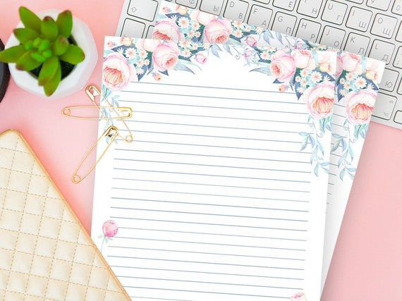 picture relating to Printable Lined Writing Paper identified as Printable Coated Creating Paper, Floral Stationery Fastened of 2, Blank Letter Sheet, Magazine Notes Down load, For Crafter, Retailer Proprietor, Her Reward