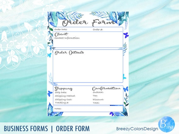 Quotation template digital order form printable botanical etsy image 0 maxwellsz