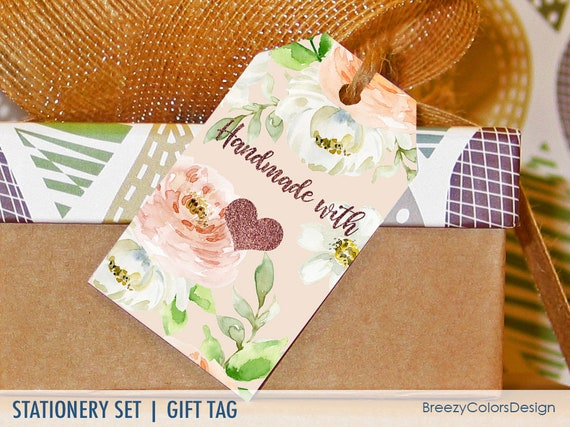 gift tags templates floral label printable handmade with etsy