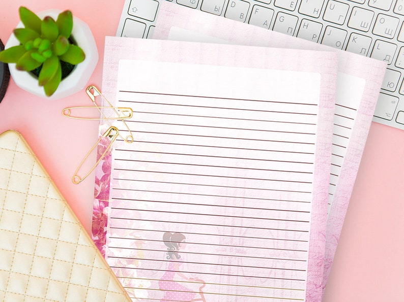 photo about Primary Writing Paper Printable known as Printable Main Composing Paper, Shabby Stylish Dominated Letter, Classic Sheet Electronic Down load, Protected Stationery Established Incorporate, Reward for Cyclist