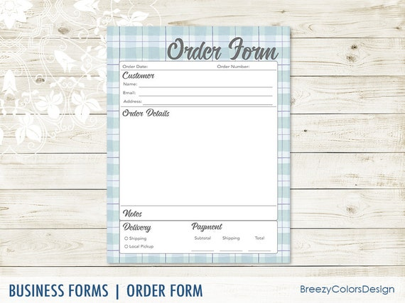 Order Form Template For Small Business Printable Ordering Sheet Plaid Local Craft Show For Clients 8 5x11 Letter Size Instant Download