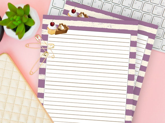 downloadable stationery cakes lined notebook printable etsy