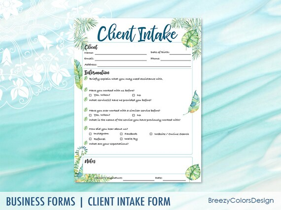 client intake forms template customer information printable etsy
