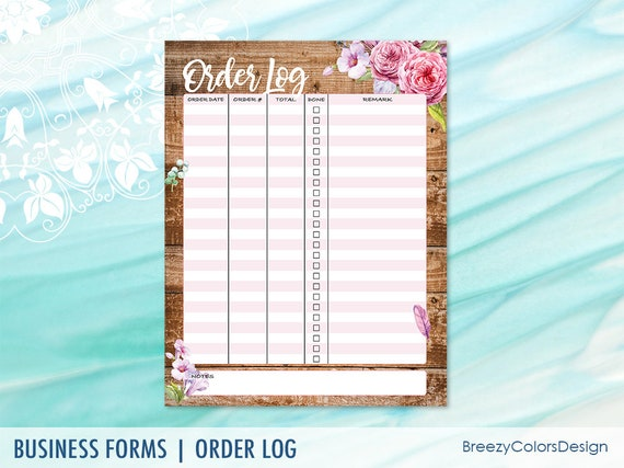 Order Log Form Template Sales Tracker Printable For Craft Fair Rustic Business Planner Wooden Checklist Worksheet Small Shops To Do List