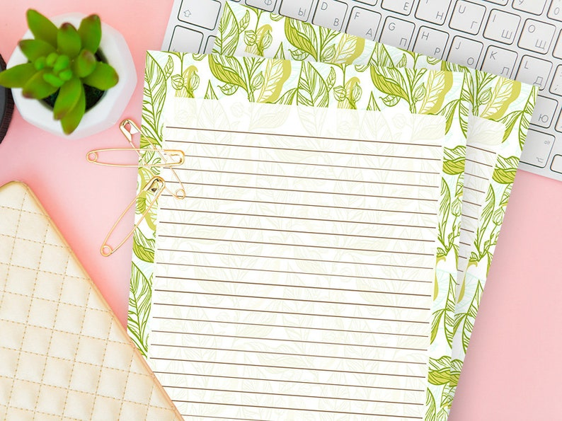 Decorative Writing Paper Printable Lined Stationery Journal Etsy