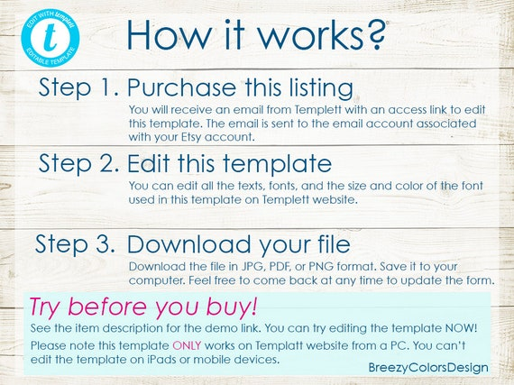 Simple Order Form Editable Craft Show Printable Template Custom Edit Yourself Large Space Downloadable Templett Website 8 5x11