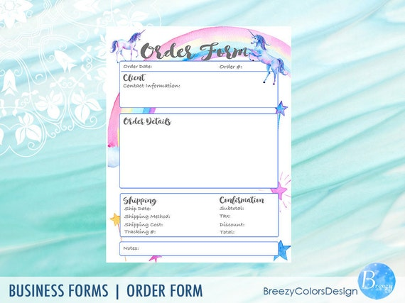 craft show printable unicorn order form template book etsy