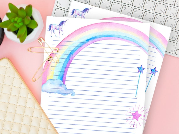 photo regarding Printable Paper With Border titled Unicorn Printable Paper With Border, Protected Creating Stationery Electronic, Dominated Laptop Sheet Incorporate, Strains Refill Down load, For Children, Niece