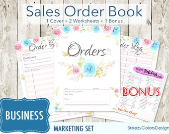 Business Planner Floral, Order Form Template, Set of 4 Marketing Kit, Craft Show Printable, Small Sales Book Tracker, Branding Pack Bundle